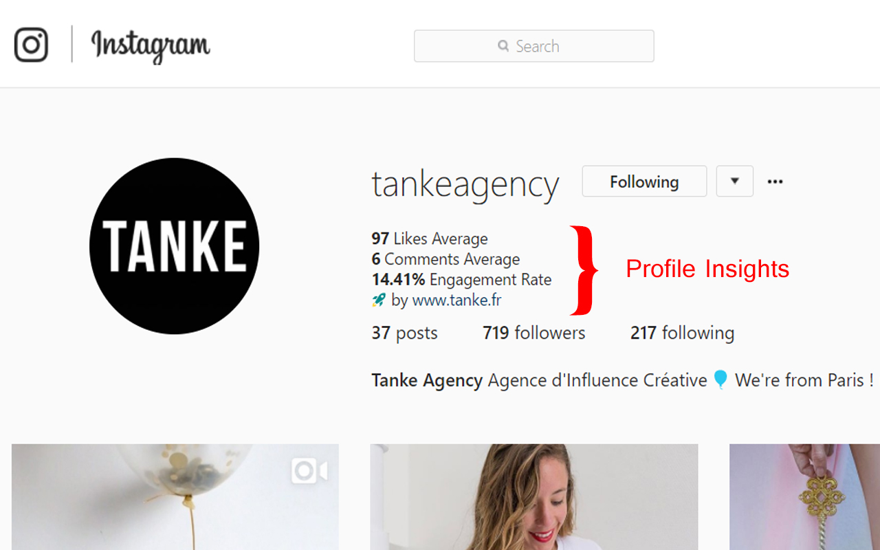 Get the Tanke Chrome Extension to calculate Instagram Engagement rate of any profile